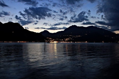 Lake Como at night, Lombardy, Italy
