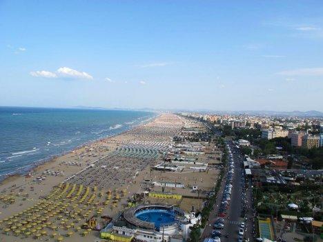 Rimini beach in summer, Emilia-Romagna, Italy