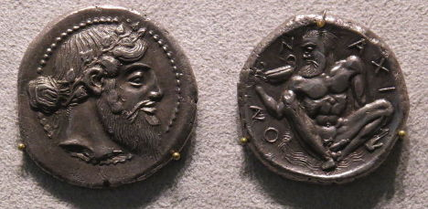 Tetradrachm minted in Naxos (Sicily) from the 5th century BC