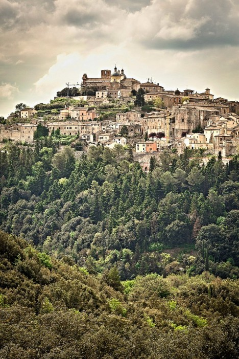 Hilly town of Amelia with Amelia cathedral on its top, Umbria, Italy