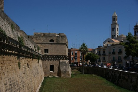Castle walls of Castello Svevo, Bari, Apulia, Italy
