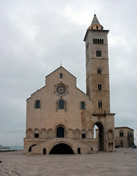 Facade of the cathedral in Trani, Apulia, Italy