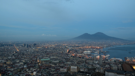 Skyline of Naples with mount Vesuvius, Campania, Italy