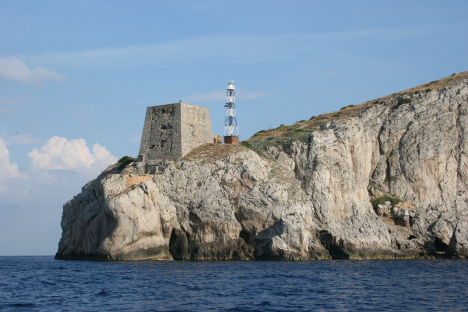 Punta Campanella and coastal tower in Campania, Italy