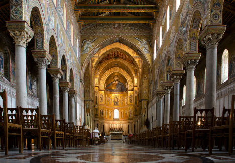 Interior of Monreale Cathedral, Sicily, Italy - 2