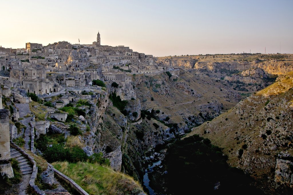 Matera at the canyon Le Gravine di Matera, Basilicata, Italy