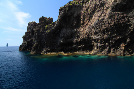 Rocky coastline of Filicudi island,, Aeolian Islands, Sicily, Italy