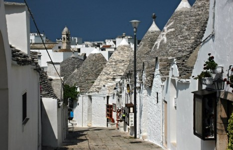 Trulli and the streets of Alberobello, Puglia, Italy