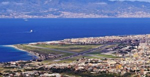 View of Reggio Calabria Airport with Sicily in the background, Italy