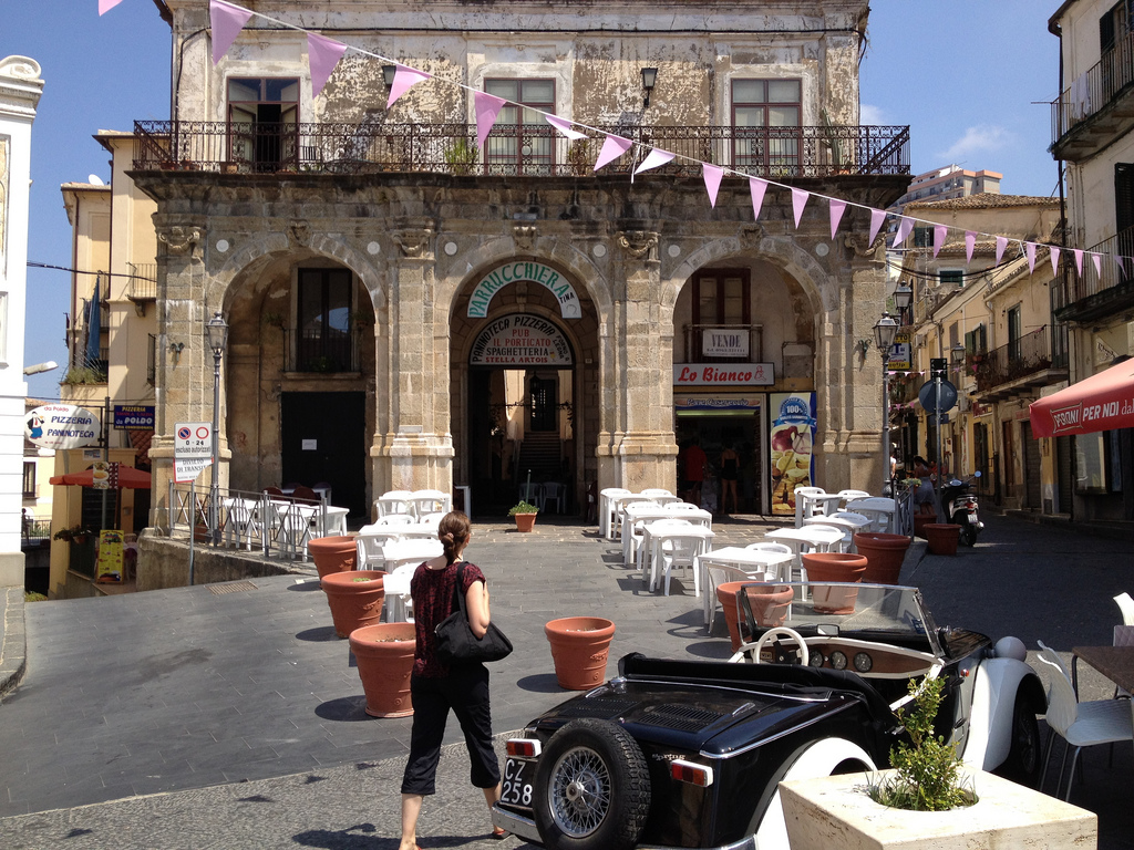 Romantic square in Pizzo, Calabria, Italy