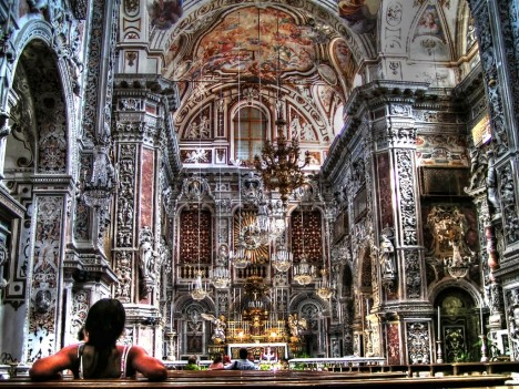 Interior of Chiesa di S. Caterina, Palermo, Sicily, Italy