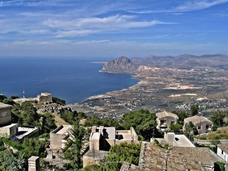 View from Erice towards Monte Cofano, Trapani, Sicily, Italy