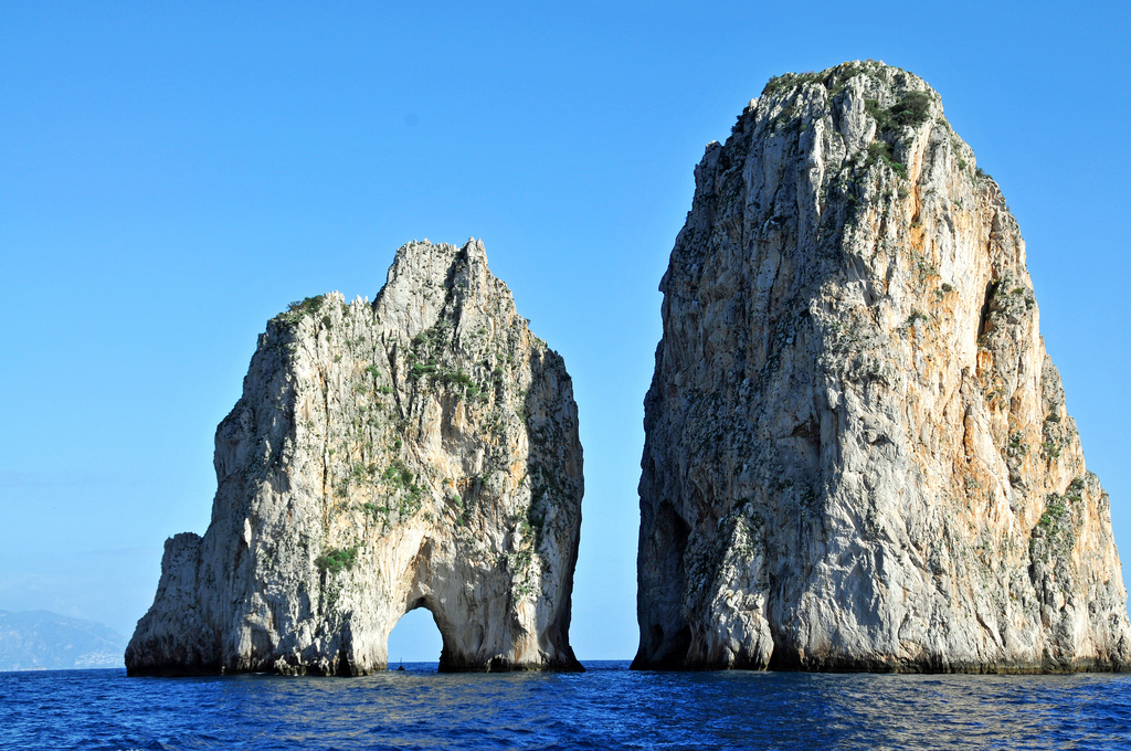 Most famous rocks in Capri, Campania, Italy