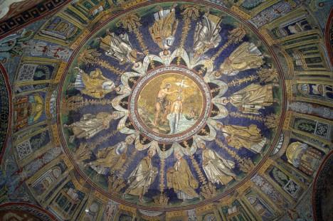 Ceiling of Battistero Neoniano, Ravenna, Emilia-Romagna, Italy