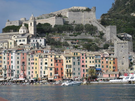 Portovenere as seen from Palmaria island, Liguria, Italy