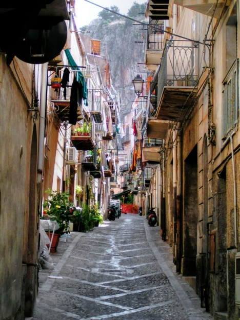 Streets in Cefalu, Sicily, Italy