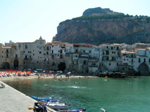 Cefalu, beach in the middle of town, Sicily, Italy
