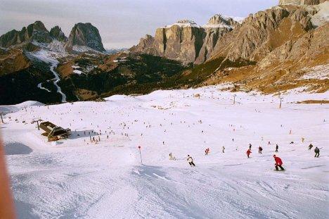 Skiing in Dolomites, Italy