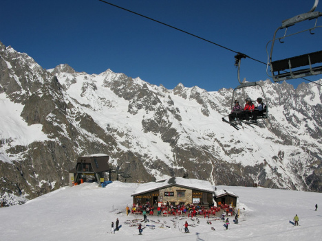Skiing in Courmayeur, Italy