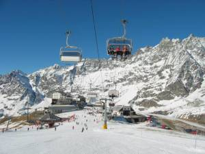 Skiing in Cervinia, Valle d'Aosta, Italy