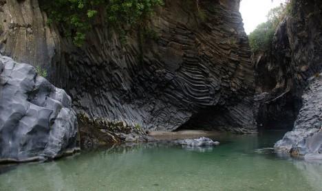 Alcàntara Gorge near Francavilla, Sicily, Italy