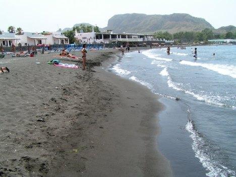 Black sand beach, Vulcano island, Lipari, Sicily, Italy