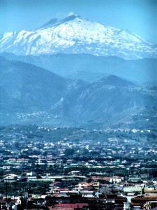 Mount Etna as seen from Milazzo - a gateway to Lipari islands, Sicily, Italy