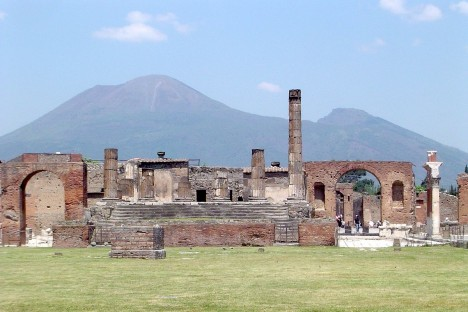 Pompeii with Vesuvius at the background, Campania, Italy
