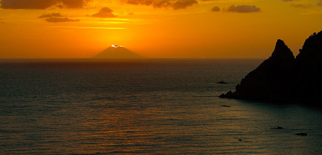 Sunset above Stromboli, Aeolian Islands, Sicily, Italy
