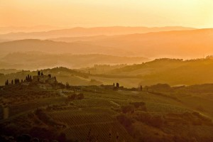Tuscan hills as seen from San Gimignano, Italy