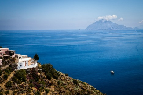 View of Filicudi from Alicudi island, Aeolian islands, Sicily, Italy