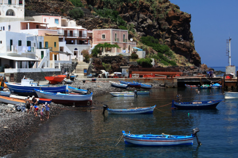 A port in Alicudi, Aeolian Islands, Sicily, Italy