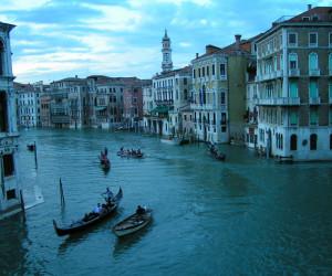Gondolas in Venice (as seen from Rialto bridge), Veneto, Italy