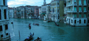 Gondolas in Venice (as seen from Rialto bridge), Veneto, Italy