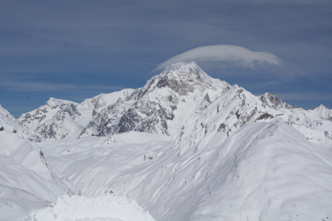 Mont Blanc as seen from La Thuile, Italy