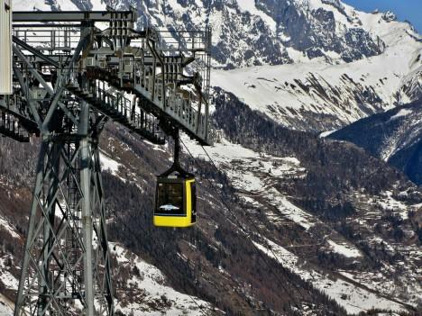 Cable lift in La Thuile, Aosta, Italy