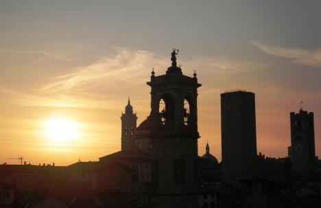Sunset over Bergamo Alta, Lombardy, Italy