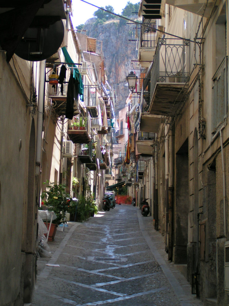 Typical Narrow Street In Sicilian Towns Italy