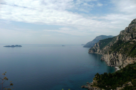 Amalfi coast and small Li Galli islands on the left, Campania, Italy