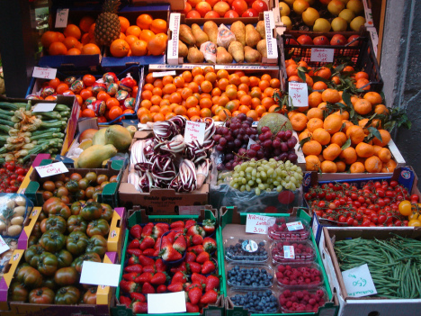 Food market in Florence, Tuscany, Italy