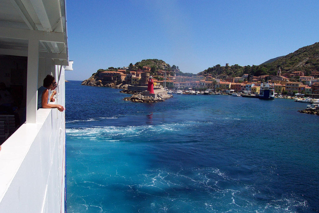 Leaving island of Giglio, Tuscany, Italy