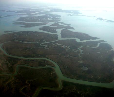 Aerial view of Venetian lagoon, Venice, Veneto, Italy