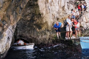 Blue Grotto (Grotta Azzurra) entrance, Capri, Campania, Italy