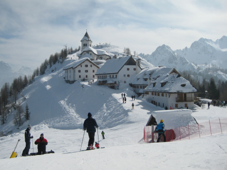 Skiing at Monte Lussari above Tarvisio, Italy