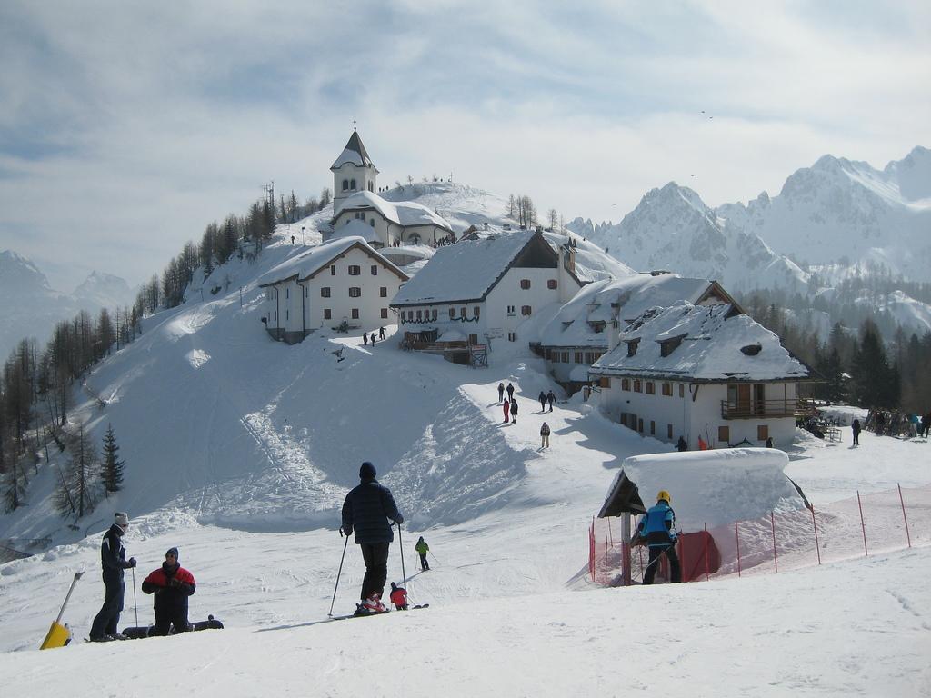 Skiing at Monte Lussari above Tarvisio, Italy