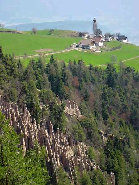 Another view of the Pyramids of the Ritten towards Mittelberg, Italy