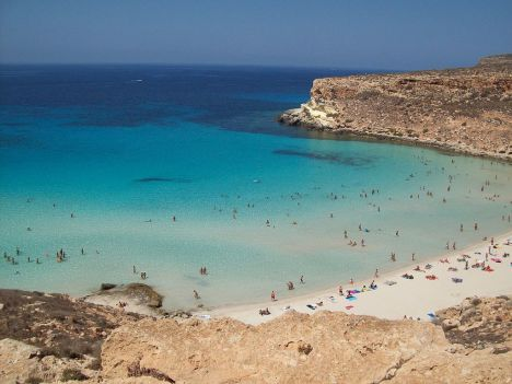 Rabbit beach from above, Lampedusa, Sicily, Italy