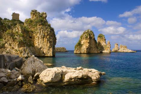 Scopello scenery as seen from the beach, Sicily, Italy
