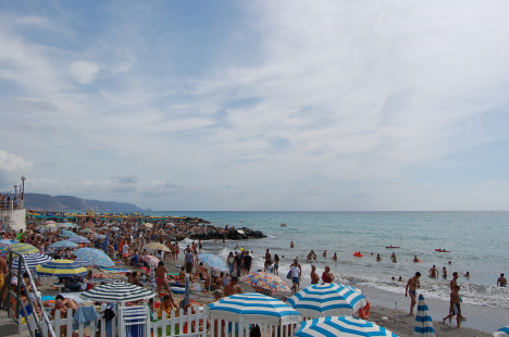 Beach in Loano, Liguria, Italy