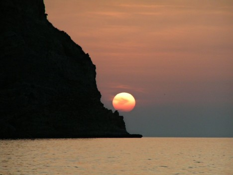 Great sunset taken from the Tongue of sand in Oliveri, Sicily, Italy